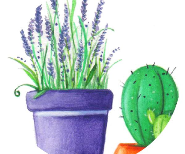Illustrated print Flowers - Details