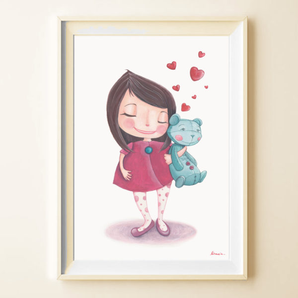 Illustrated print Girl with Teddy bear