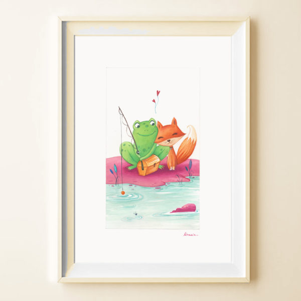 Illustrated print Friends in fishing