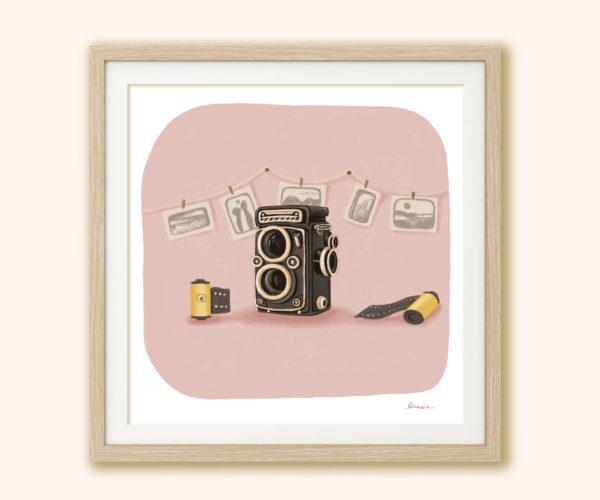 Illustrated print Vintage camera
