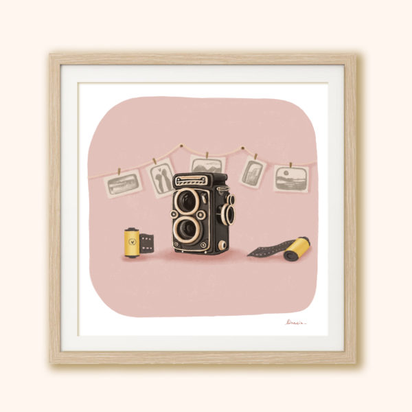 Illustrated print Vintage camera