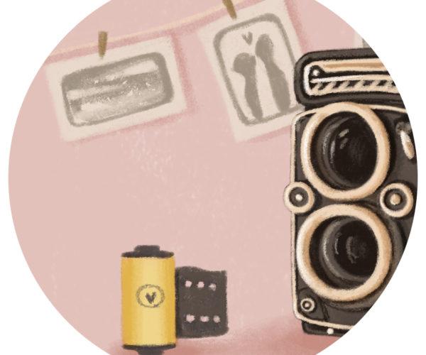 Illustrated print Vintage camera - Details