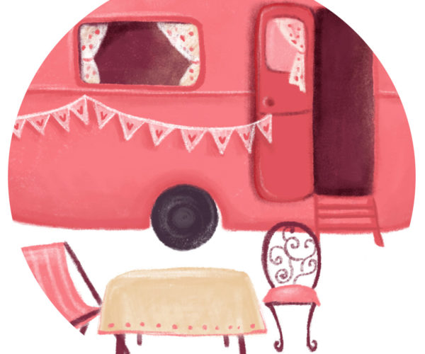 Illustrated print Caravan - Details