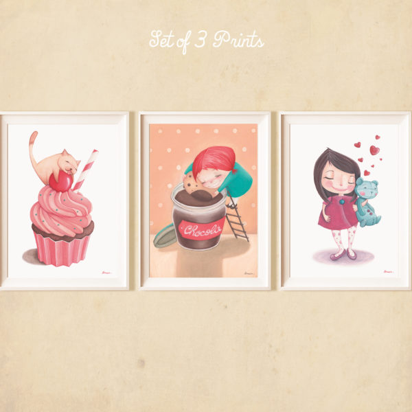 Set of 3 Illustrated prints Sweet Moments