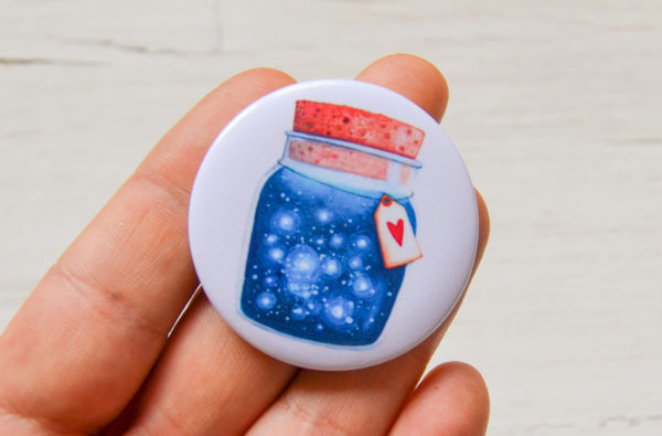 Illustrated pin Dreams jar