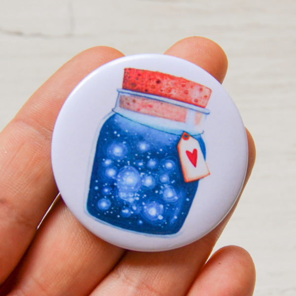 Illustrated pin Dreams jar