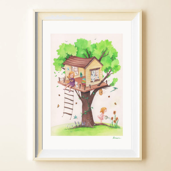 Illustrated print Treehouse