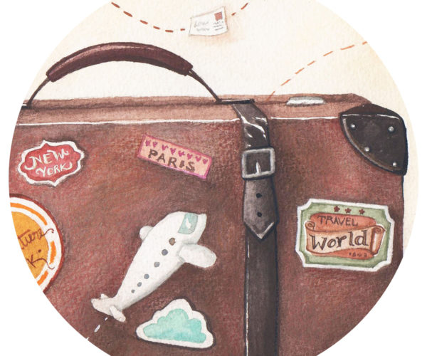 Illustrated print Suitcase - Details