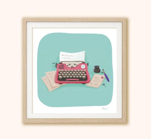 Illustrated print Typewriter