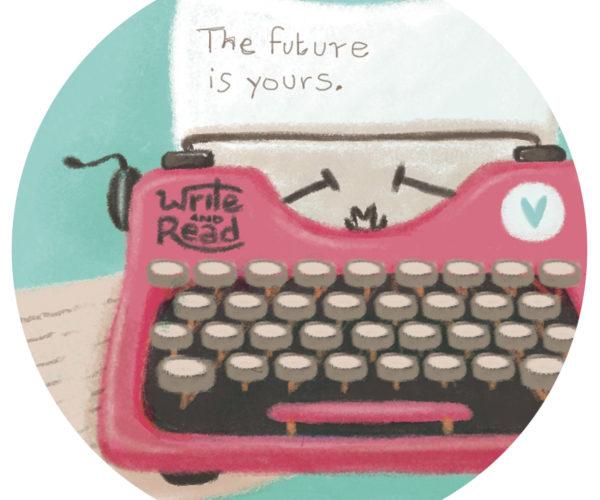 Illustrated print Typewriter - Details