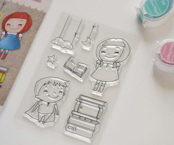 Clear stamps set Kids and book