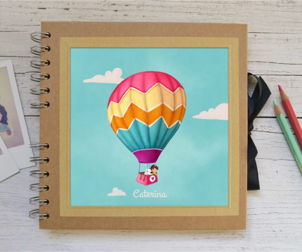 Small photo album Girl in hot air balloon with name