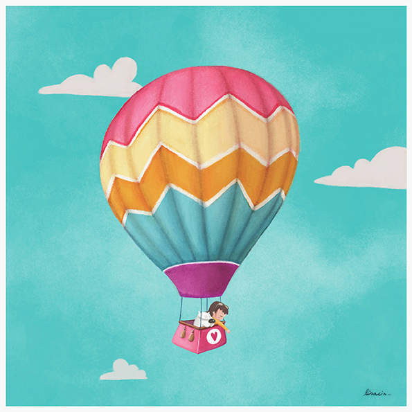 Illustrated print hot air balloon