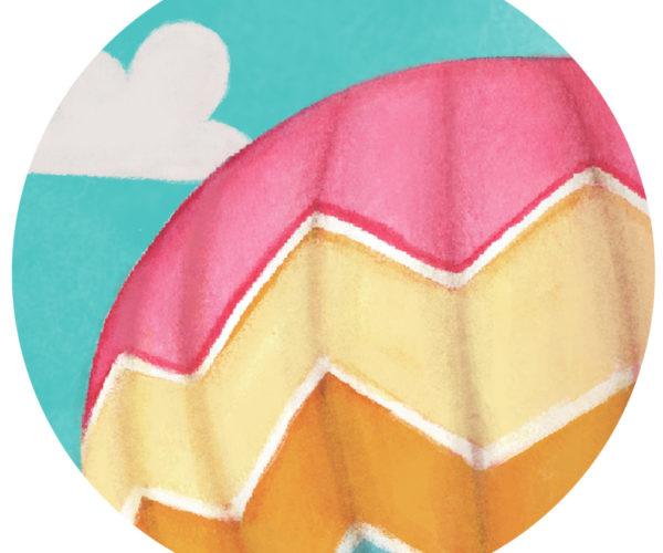 Illustrated print hot air balloon - details