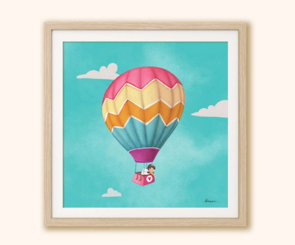 Illustrated print hot air balloon with frame